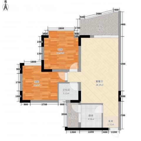 城市江山2室1厅1卫1厨73.00㎡户型图