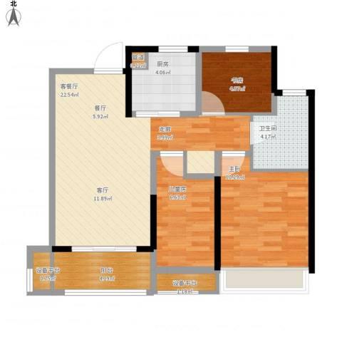 朗诗未来街区3室1厅1卫1厨74.00㎡户型图