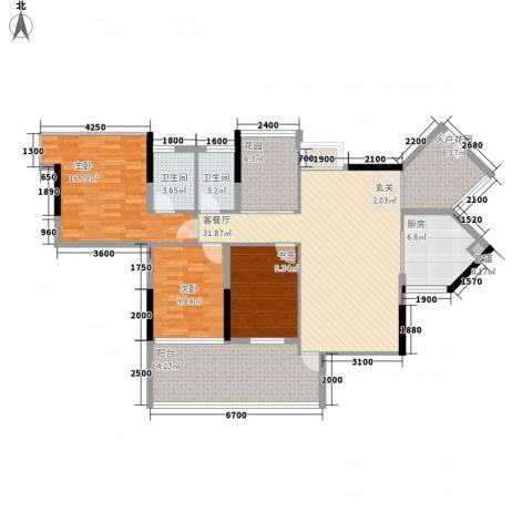 阳光时代3室1厅2卫1厨125.00㎡户型图