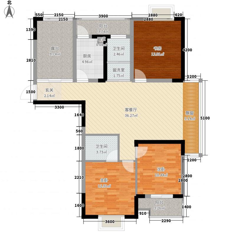 水上园小区户型3室2厅2卫1厨
