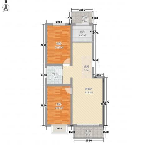 金澜湾2室1厅1卫1厨88.00㎡户型图