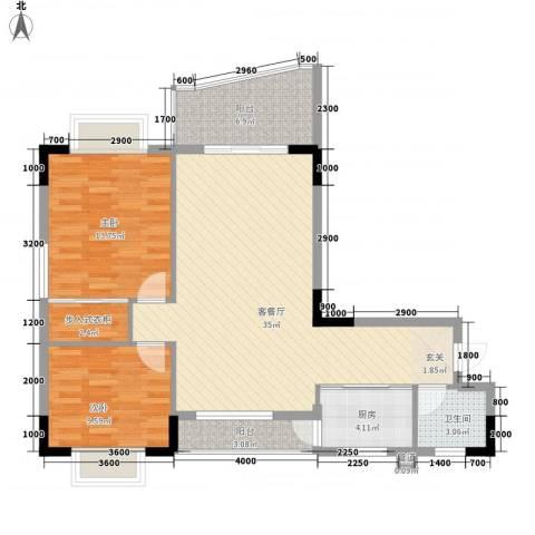 城市江山2室1厅1卫1厨82.00㎡户型图