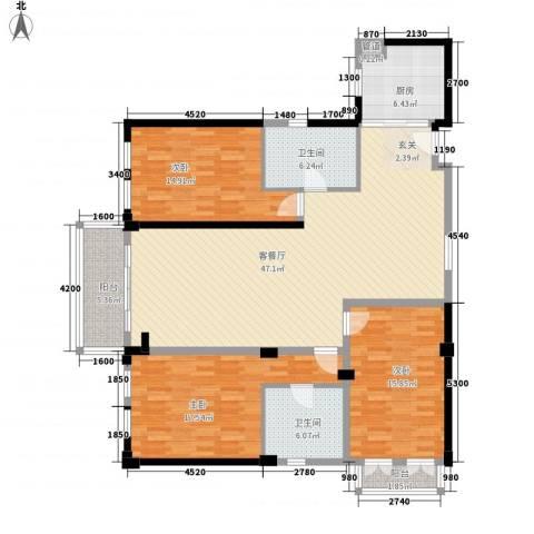 惠元大厦3室1厅2卫1厨172.00㎡户型图