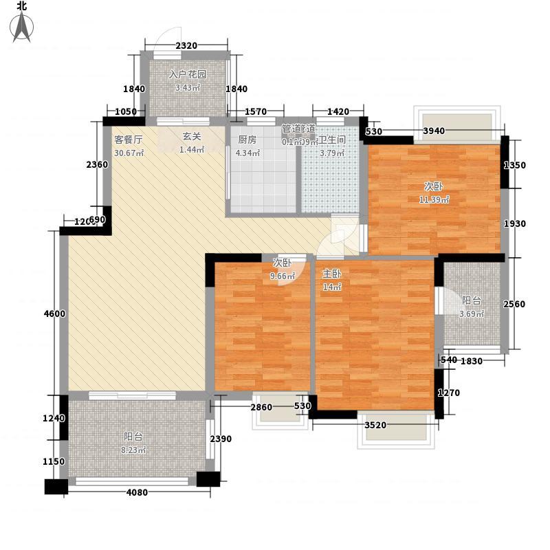 尚观御园17.00㎡4-14座03-04单位户型3室2厅1卫1厨