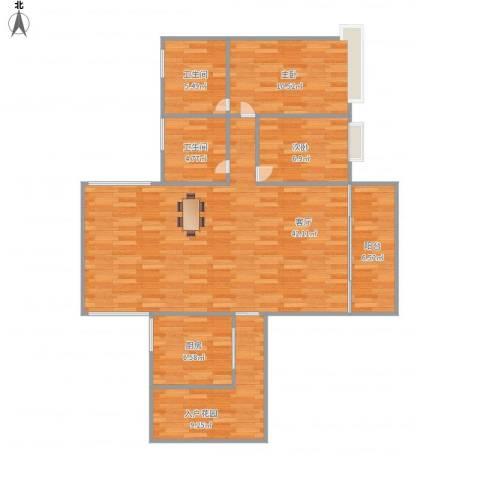雍景园1305、12052室1厅2卫1厨124.00㎡户型图