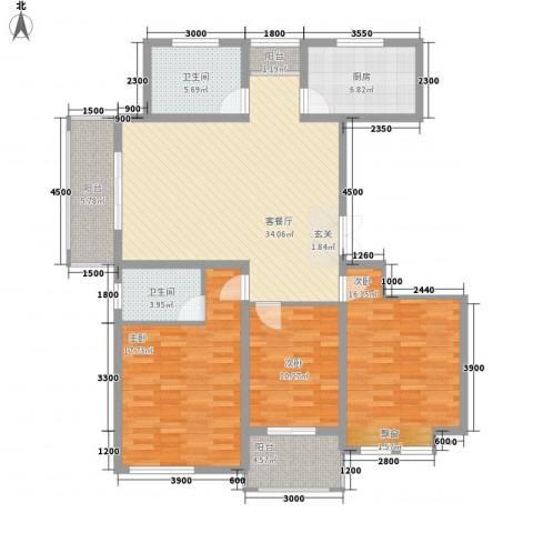 银泰花园3室1厅2卫1厨140.00㎡户型图