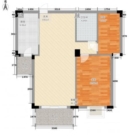 日光清城2室1厅1卫1厨96.00㎡户型图