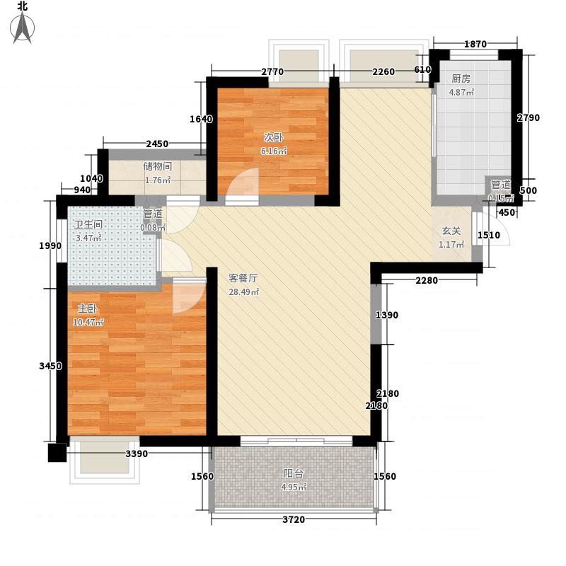 和昌湾景项目88.00㎡一期户型3室2厅1卫1厨