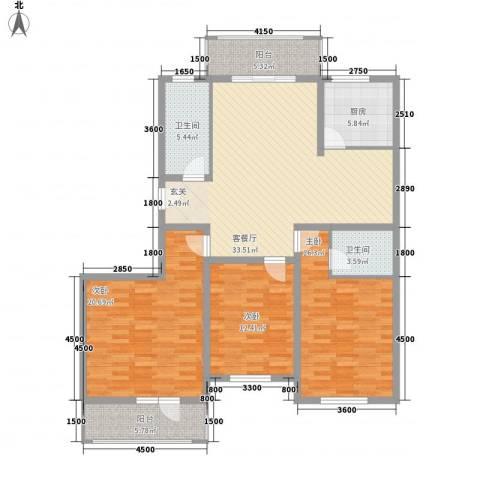 银泰花园3室1厅2卫1厨122.00㎡户型图