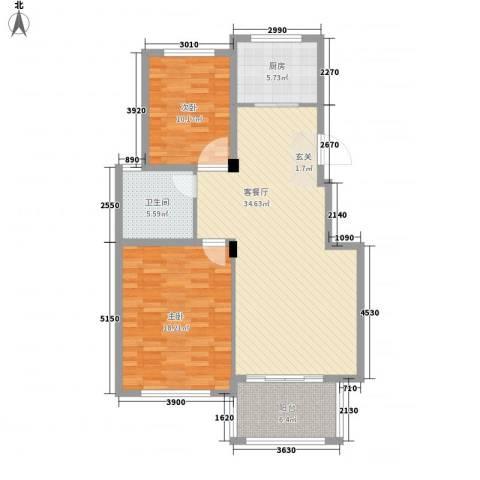 文锦新城2室1厅1卫1厨101.00㎡户型图