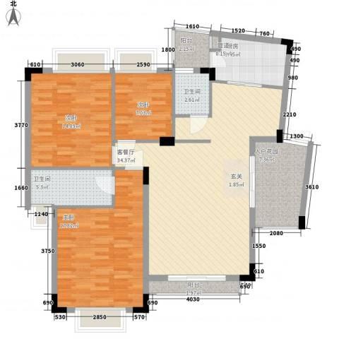 皓月花园3室1厅2卫1厨112.00㎡户型图