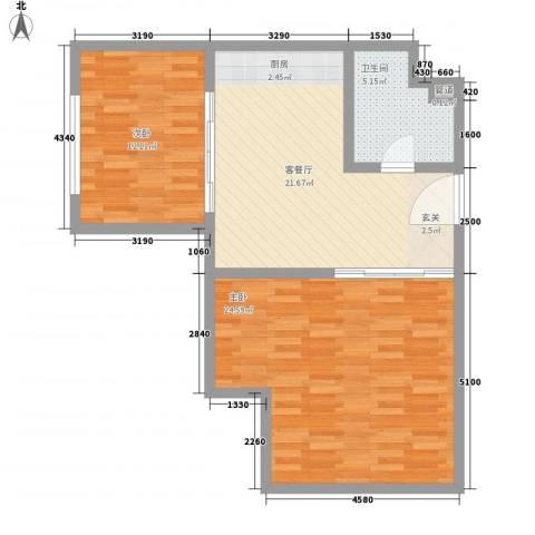青城寓所2室1厅1卫0厨90.00㎡户型图
