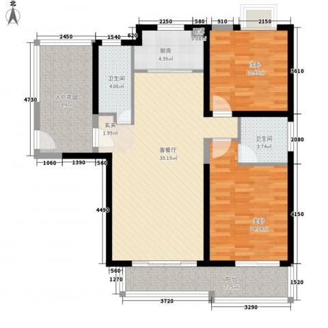公园道1号2室1厅2卫1厨85.24㎡户型图