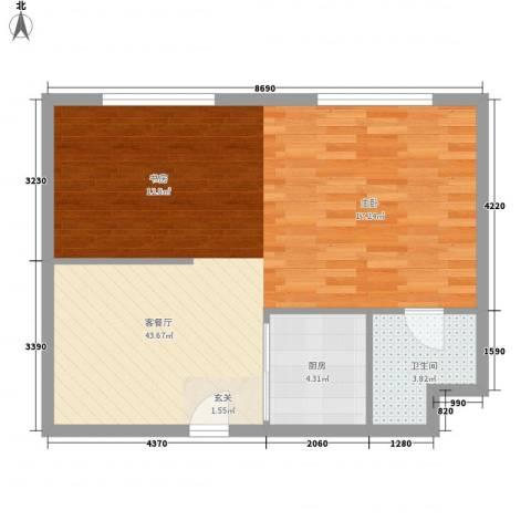 青城寓所1厅1卫1厨71.00㎡户型图