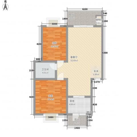 锦绣花园2室1厅1卫1厨108.00㎡户型图