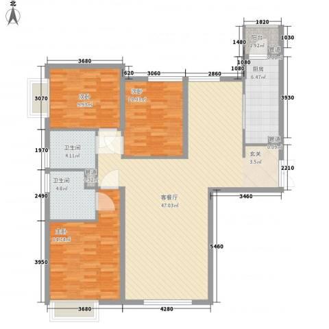 太原富力现代广场3室1厅2卫1厨140.00㎡户型图
