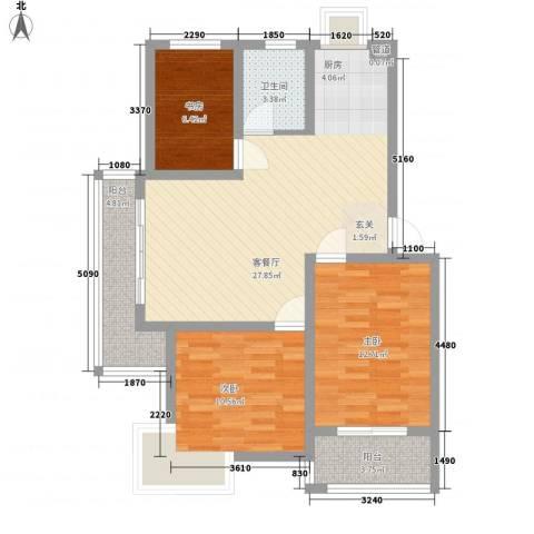 舜江碧水豪园3室1厅1卫0厨81.00㎡户型图