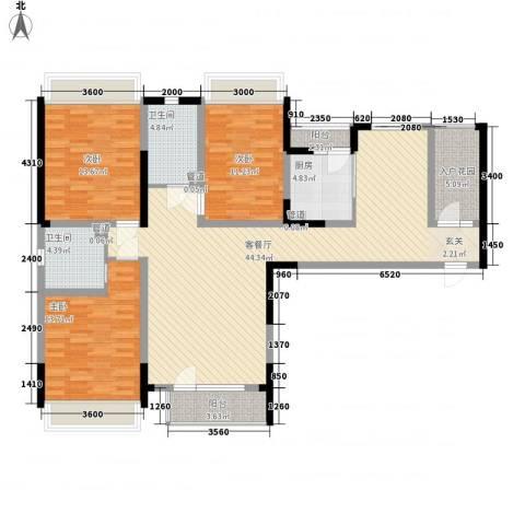 联发紫微花园3室1厅2卫1厨145.00㎡户型图