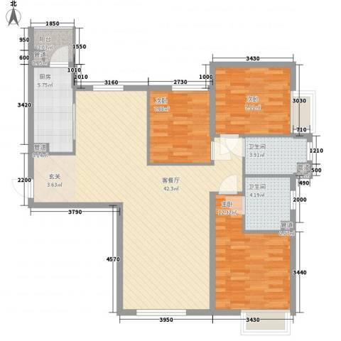 太原富力现代广场3室1厅2卫1厨123.00㎡户型图