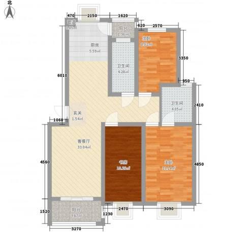 舜江碧水豪园3室1厅2卫0厨91.00㎡户型图