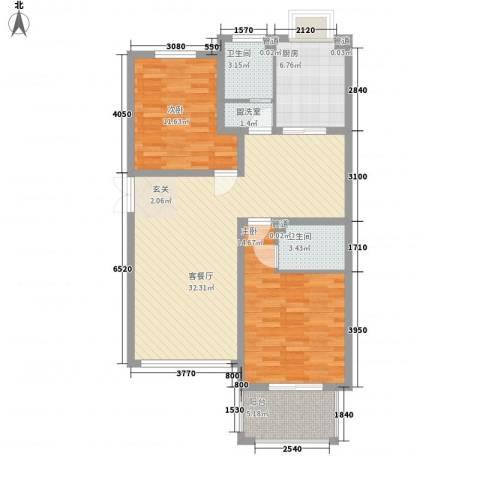舜江碧水豪园2室2厅2卫1厨90.00㎡户型图