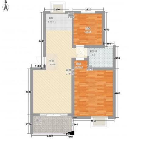舜江碧水豪园2室1厅1卫0厨70.00㎡户型图