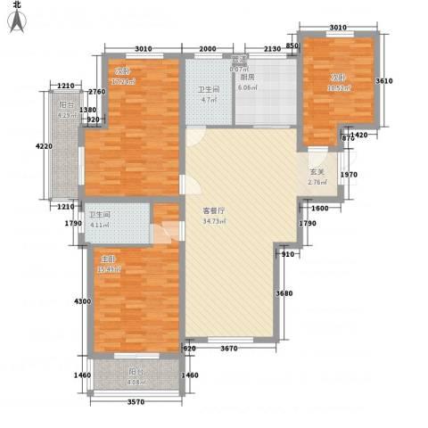 舜江碧水豪园3室1厅2卫1厨115.00㎡户型图