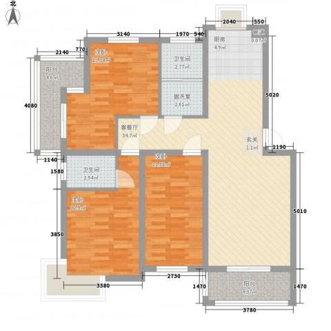 舜江碧水豪园3室2厅2卫0厨104.00㎡户型图