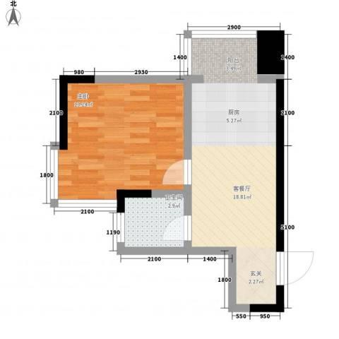 标点1室1厅1卫0厨56.00㎡户型图