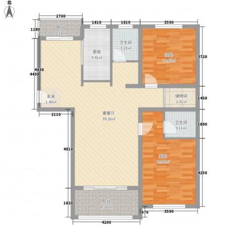 文锦新城2室1厅2卫1厨102.00㎡户型图