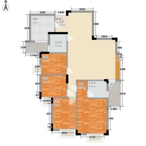 皓月花园4室1厅2卫1厨120.00㎡户型图
