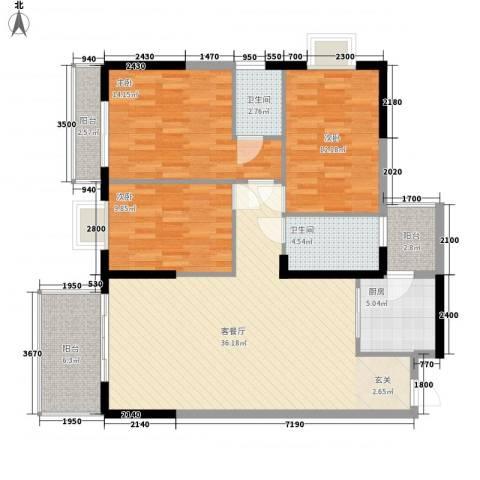 幸福家园3室1厅2卫1厨183.00㎡户型图
