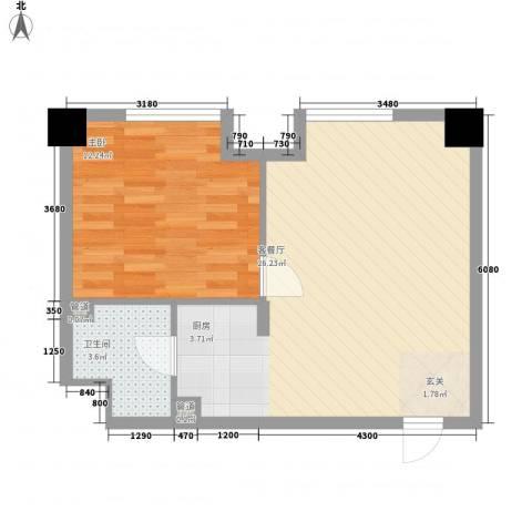 财富公寓1室1厅1卫0厨42.24㎡户型图