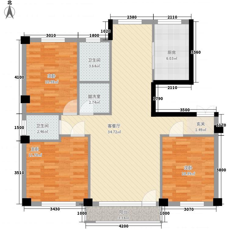 万祥海顿花园112.00㎡3号楼F户型3室2厅2卫1厨