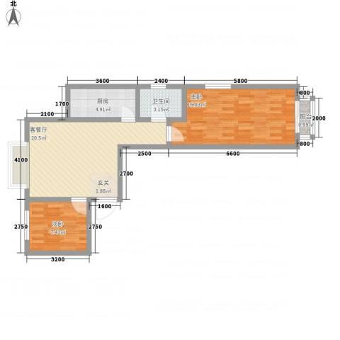 鑫缘佳地2室1厅1卫1厨86.00㎡户型图
