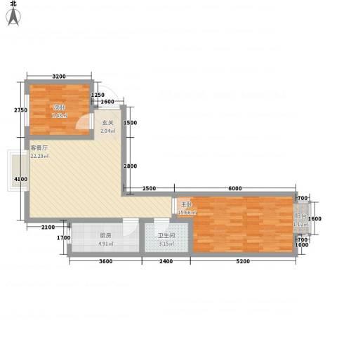 鑫缘佳地2室1厅1卫1厨87.00㎡户型图