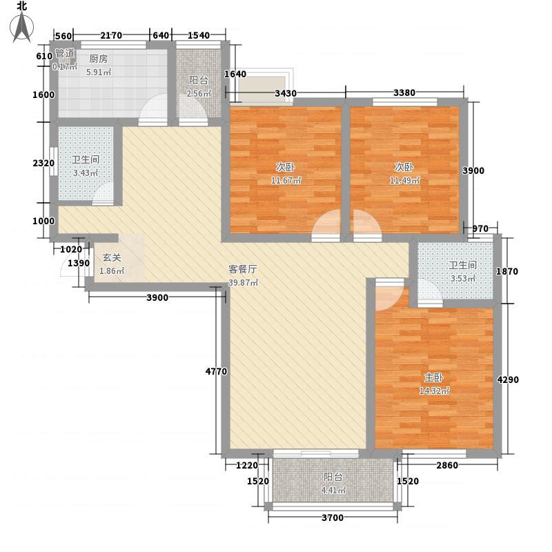 惠康小区hx1户型3室2厅1卫1厨