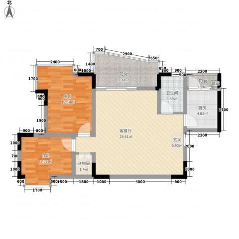 城市江山2室1厅1卫1厨75.00㎡户型图