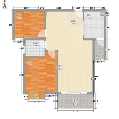 星河花园2室1厅1卫1厨70.16㎡户型图