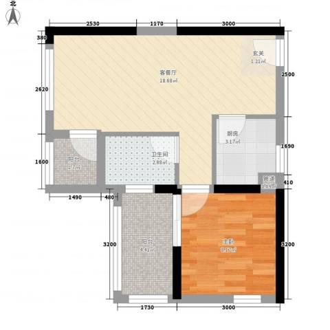 万佳公寓1室1厅1卫1厨57.00㎡户型图