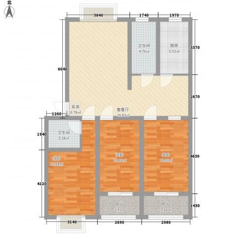 普兰银河花园3室1厅2卫1厨124.00㎡户型图