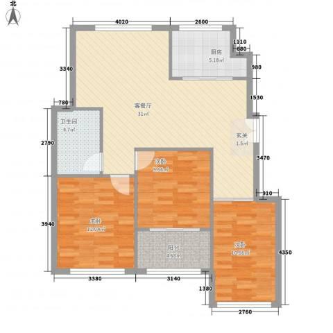 山景御园3室1厅1卫1厨108.00㎡户型图