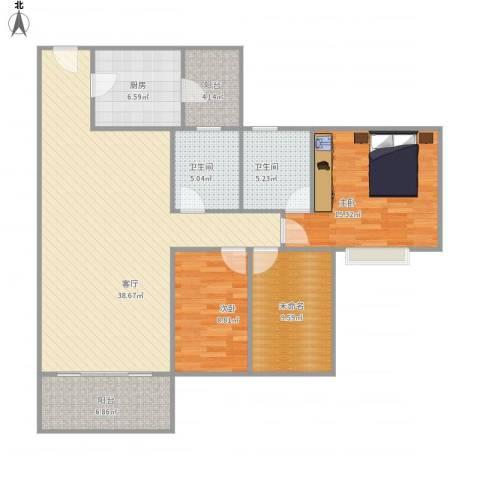 雅居乐熹玥2室1厅2卫1厨135.00㎡户型图