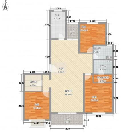 宝业家纺公寓3室1厅2卫1厨162.00㎡户型图