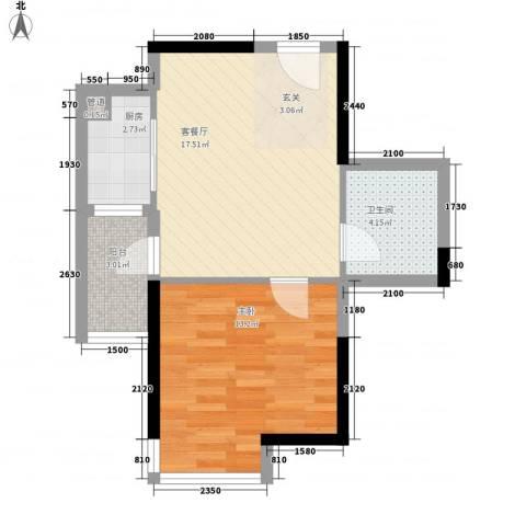 宝业家纺公寓1室1厅1卫1厨58.00㎡户型图