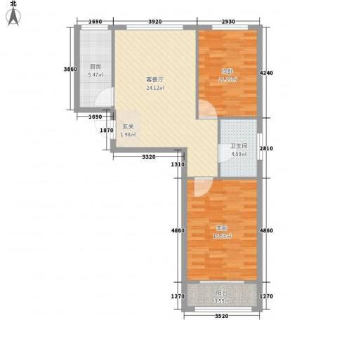 山景御园2室1厅1卫1厨90.00㎡户型图