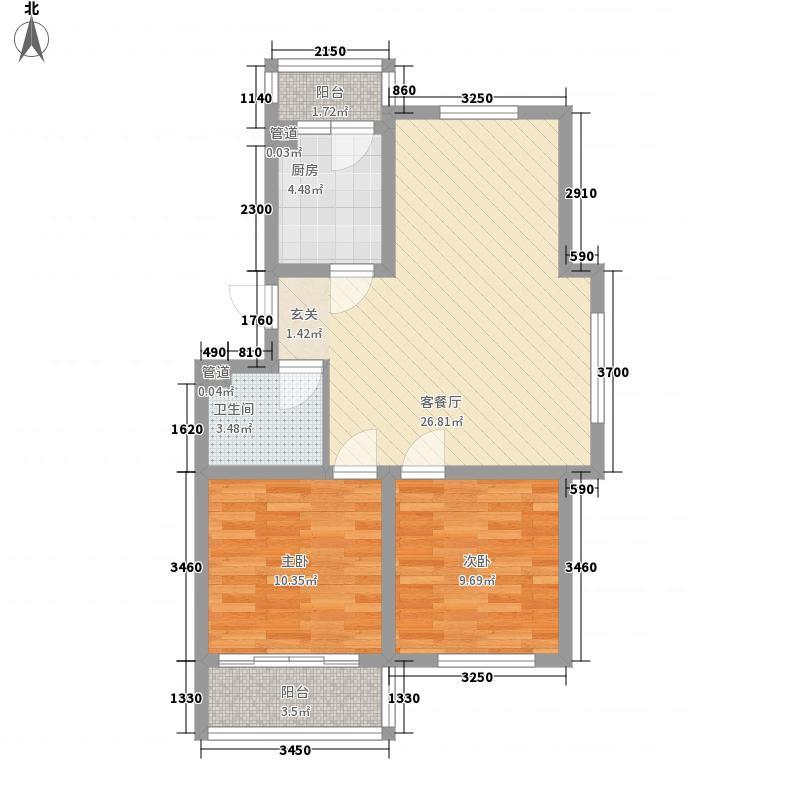 即发金色华山88.00㎡73#、75#、88#、100-101#C户型2室2厅1卫