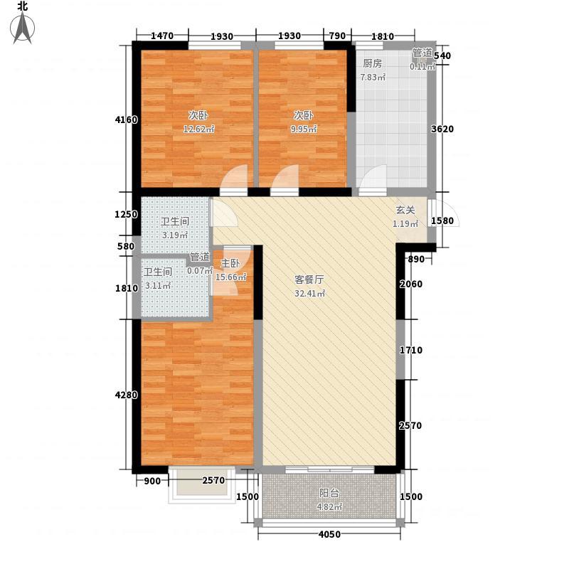 福海阳光花园128.24㎡2号楼G1户型3室2厅2卫1厨