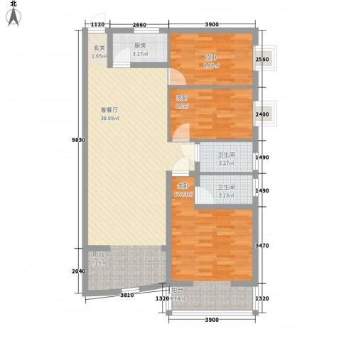 铁湖书院3室1厅2卫1厨115.00㎡户型图