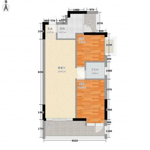 花都雅居乐花园2室1厅1卫1厨86.00㎡户型图